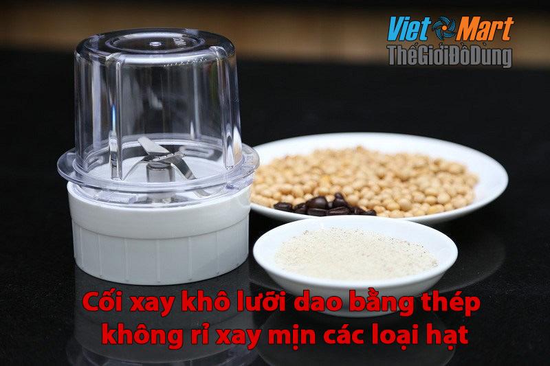 Cối xay khô giúp xay các loại hạt như: Đậu Đỗ gạo, hạt tiêu, tỏi, hành,...