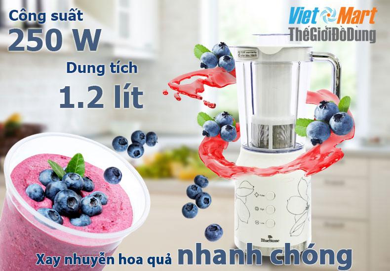 Cối Máy xay bluestone dung tích lớn 1.2l được làm bằng nhựa ABS chịu lực tốt,an toàn, công suất 250w xay nhuyễn thực phẩm nhanh hơn
