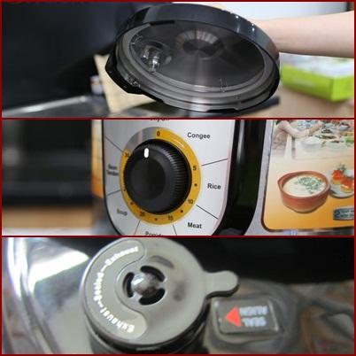 Nồi có thiết kế an toàn với va xả hơi, và nút nhấn xả áp xuất