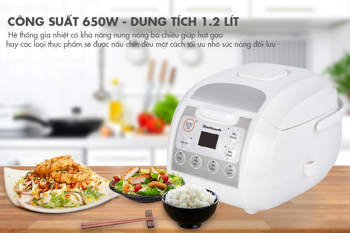 Nồi có dung tích 1,2l. kết hợp với công suất cao lên giúp nấu ăn nhanh, tiết kiệm thời gian