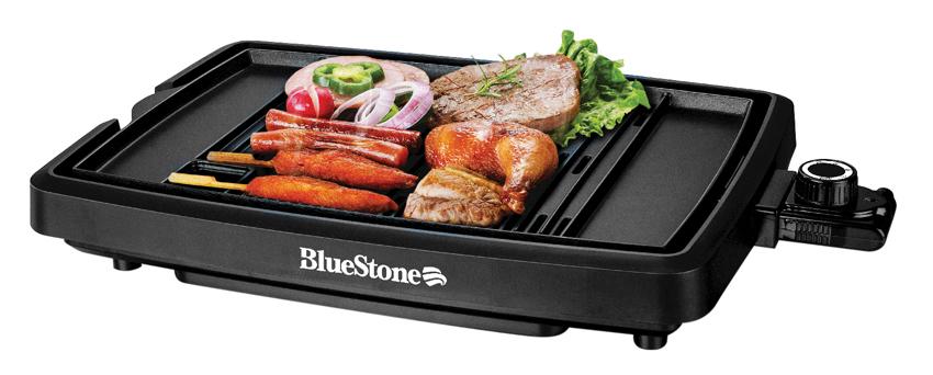 Bề mặt nướng của vỉ nướng điện BlueStone được phủ chống dính Ceramic giúp thực phẩm chín nhanh, không cháy khét an toàn