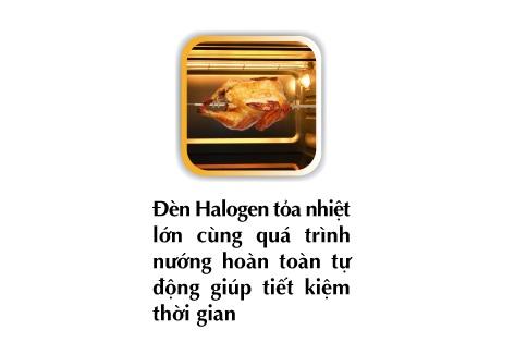 Lò có thiết kế cả đèn Halogen giúp tăng thêm nhiệt độ cho lò, thiết kiệm thời gian nướng