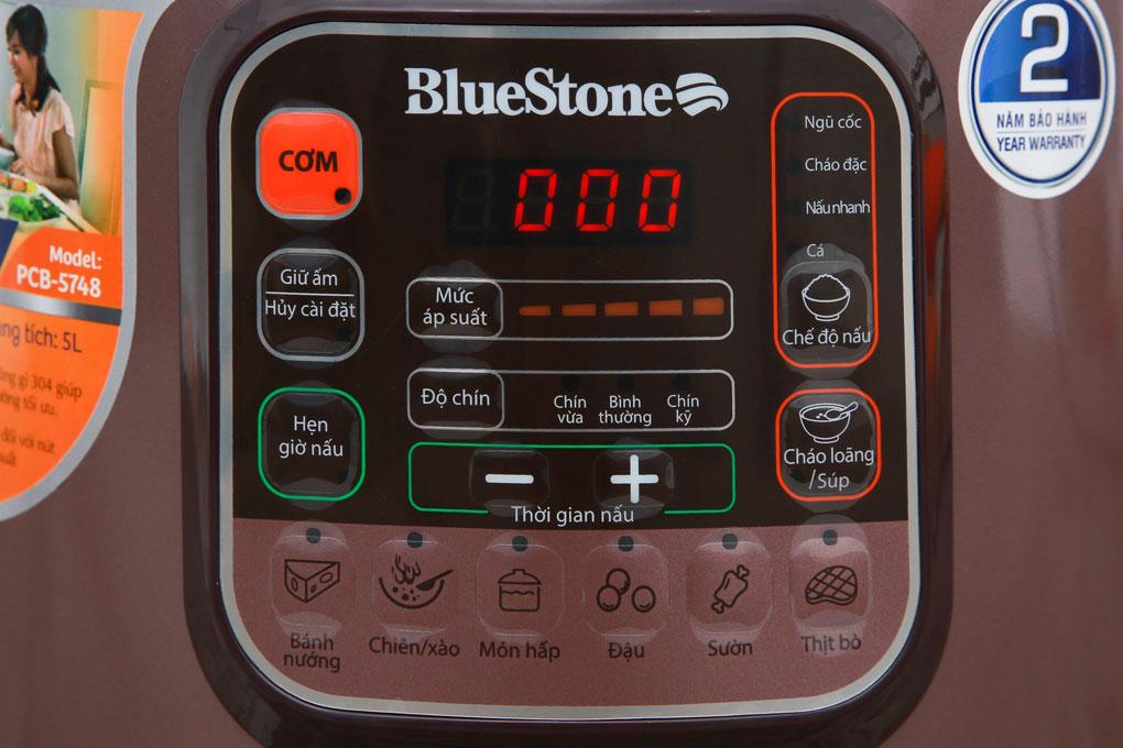 Nồi áp suất điện BlueStone PCB 5748 bảng điều khiển điện tử bằng tiếng Việt