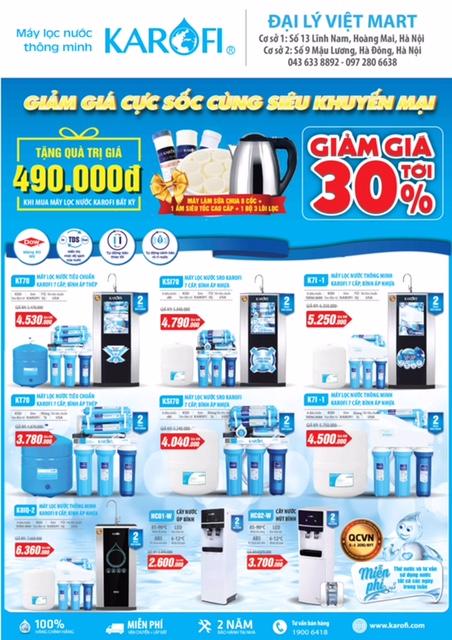 Khi mua máy lọc nước của Karofi sẽ tặng ngay gói quà có trị giá lên đến 490k