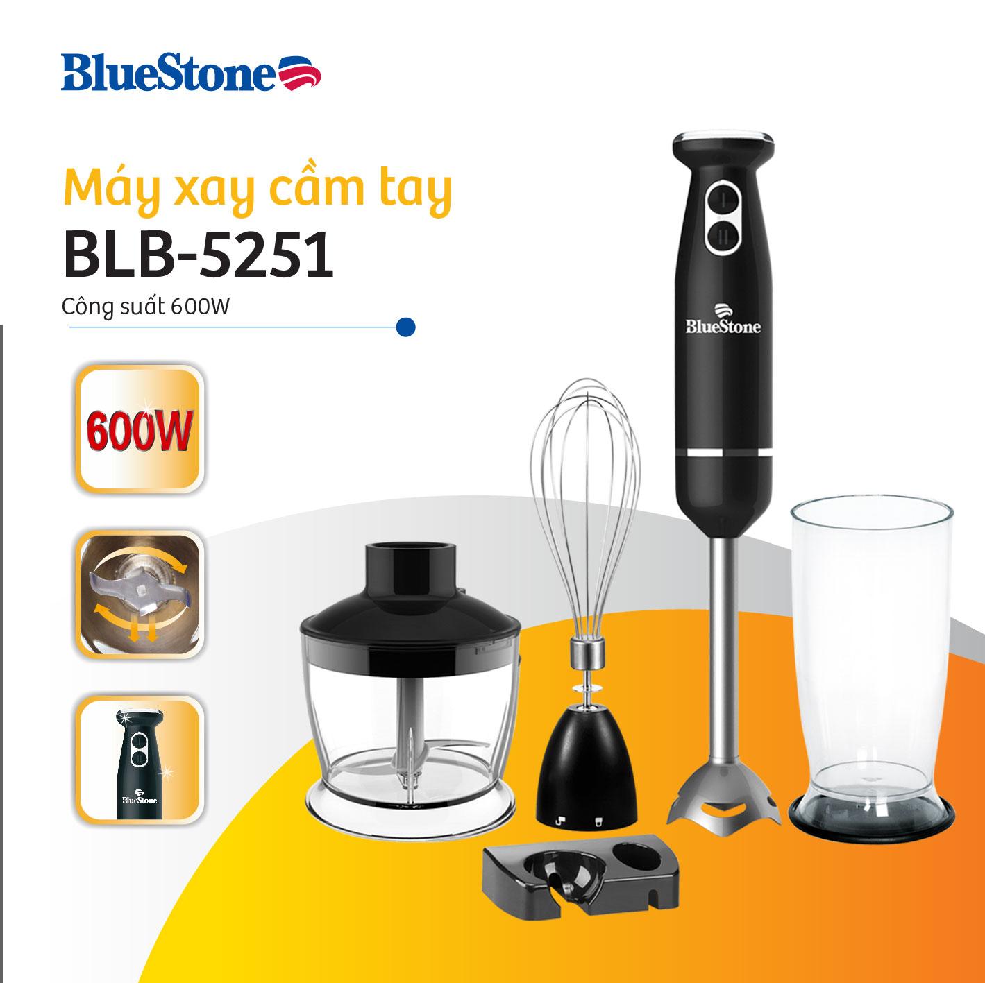Máy xay cầm tay BlueStone BLB-5251 cao cấp công suất 600W, 2 tốc độ xay